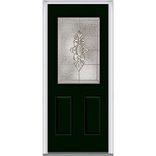 National Door Company Z004286R Steel, Hunter Green, Right Hand In-swing, Exterior Prehung Door, Heirloom Master 1/2 Lite 2-Panel, 36''x80'' by National Door Company