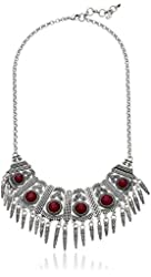 Lucky Brand Silver-Tone and Faux Ruby Collar Necklace