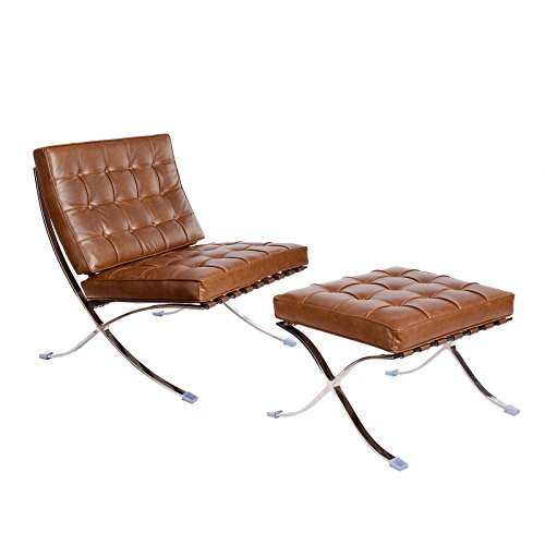 Barcelona Leather Ottoman (Mid Century Modern Classic Pavilion Barcelona Style Replica Premium Lounge Chair & Ottoman With Caramel Brown PU Leather and Stainless Steel Frame)