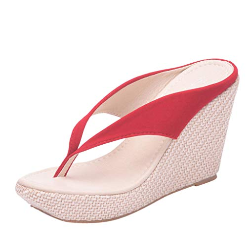 SMALLE_Shoes Wedge Flip Flops for Women,SMALLE◕‿◕ Women Beach Sandals Platform Wedges Sandals High Heels Wedges Slippers Red