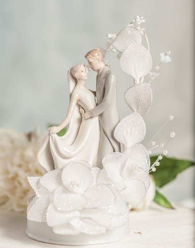 Elegant Wedding Cake Toppers (Dancing Bride and Groom Vintage Glitter Flower Wedding Cake Topper: Flower Arch Color: WHITE)