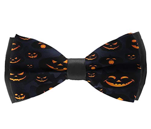 L Wright-King Men's Pre Tied Bow Ties for Wedding Party Halloween Pumpkin Patterns Adjustable Bowties -