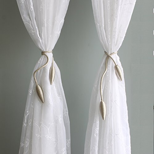 Valea Home 2 Pieces Curtain Tiebacks Clips Creative Window Drape Twist Tie Backs European Style Custom Made Curtain Holders Decorative Draperies Holdbacks, Beige