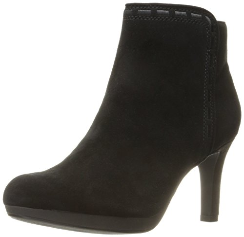 Clarks Women's Adriel Sadie Ankle Bootie, Black Suede, 8.5 W (Dolly Ankle Boot)