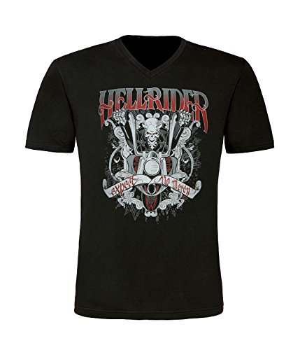 Biker Hell Rider Herren T-Shirt mit V-Ausschnitt