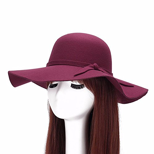 Large Wool Brim Hat Red (Qingsun Fashipn Women's Vintage Large Wide Brim Wool Felt Floppy Winter Fedora Cloche Hat Cap(Dark Red))