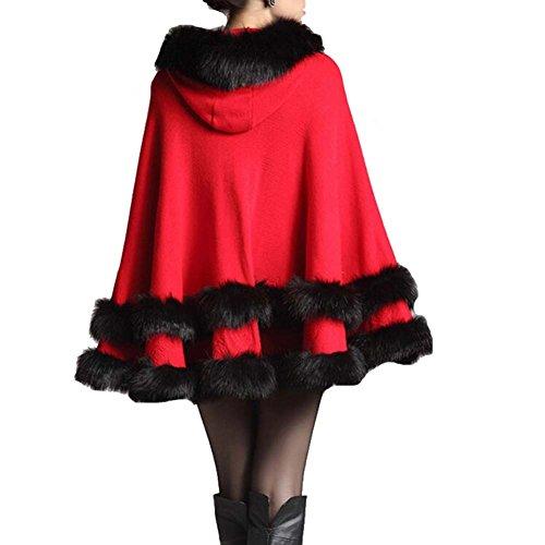 red Stole win8fong Manteau doux en Femme longue tricot chale Cape Fourrure Bolro Cape xOg7xBq