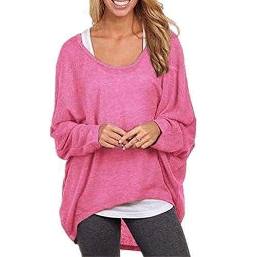 Pull en Tricot Femme Sweater Chandail Sans Epaule Off Baggy Casual Lâche Automne Jumper T-shirt Manche Chauve-souris Longues Chemisier Blouse Top Col Bateau Rond Hauts – Landove