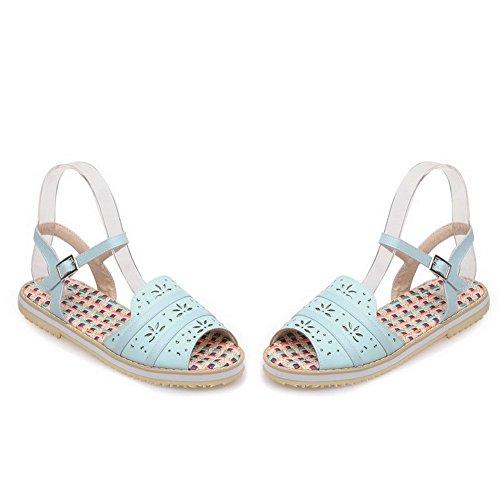 AllhqFashion Hebilla Puntera Abierta Mini Tacón Sólido Sandalias de vestir Azul