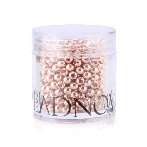BEADNOVA 500pcs 3mm Rose Gold Plated Smooth Brass Metal Round Beads with Container for Jewelry Making (3mm Beads Gold Plated)