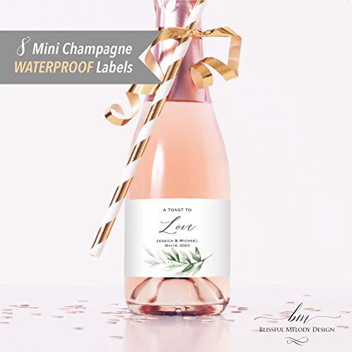 8 Customized WATERPROOF Polyester Mini Champagne Bottle Labels, Personalized Green Watercolor Leaf Branch Mini Wine Bottle Label Sticker, 2x3.5