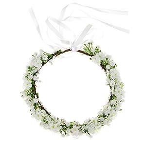 Floral Fall Artificial Baby Breath Flower Halo Wedding Crown Pink Bridal Headpiece Greenery Crown HC-24 (White Flower), Medium 6