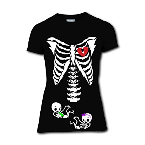 Wonder Twins Costumes Babies (Twins Baby Skeleton Pregnant Short Sleeve T-Shirt Tee Shirt Black Round Tops for Women 3XL)