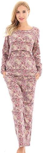 Bearsland Women's Maternity Sleepwear Set Nursing Breastfeeding Paj