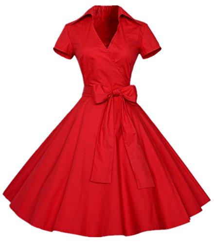 Eudolah - Vestido (estilo vintage años 50, diseño liso, manga corta, nudo Swing) Rojo