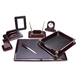 Majestic Goods Office Supply Dark Mahogany Oak with Black Eco-Friendly Leather Finish (W925)