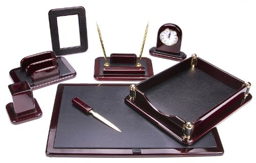 Majestic Goods Office Supply Dark Mahogany Oak with Black Eco-Friendly Leather Finish (W925) ()