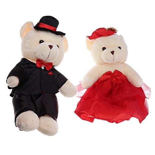 (MonkeyJack Stuffed Plush Couple Bear with Black Cap Toys Animal Dolls Buddy Pets Kids Cute Gifts for Wedding /Car/Home Decoration)