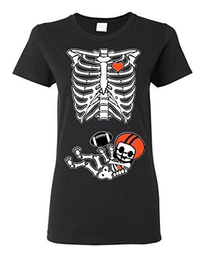 Baby Skeleton Cincinnati Football Ladies (not Maternity) DT T-Shirt Tee (XX-Large, Black)