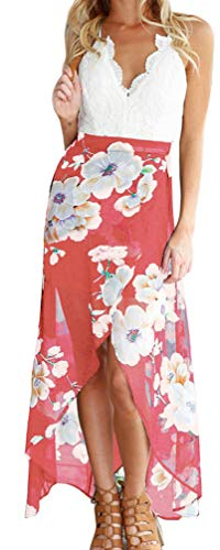 FANCYINN Women V-Neck Lace Patchwork Irregular Hem Casual Chiffon Dress Pink L