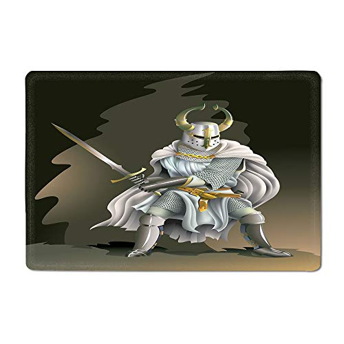 Medieval Decor Bath mat Illustration of Heavy Armored Knight of Kingdom Empire in The Past Times Culture Outdoor mat White Brown 20'x 32'