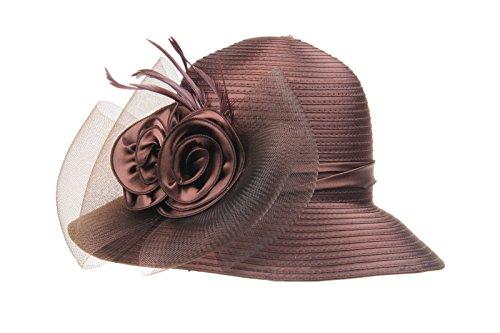 e1e204f18570b Prefe Lady s Kentucky Derby Dress Church Cloche Hat Bow Bucket Wedding Bowler  Hats (Brown