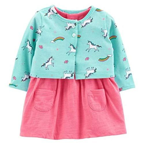 Baby Girl Rainbow Dress (Carter's Baby Girls Bodysuit Babydoll Waist Dress & Unicorn Rainbow Cardigan)