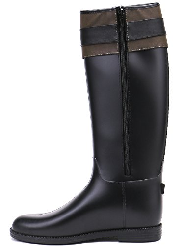 negro Tall lluvia la de hasta lluvia de oscuro para botas cuero de TONGPU rodilla marrón Botas la lluvia la botas PU qIwUpgW65