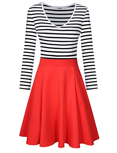 V Long Women's Sleeve and Sleeve Neck V MISSKY Dress Coral Swing Red Neck Scoop Striped Cocktail Long Neck Mini ZdSYqT