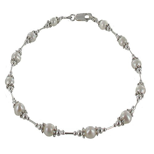 Womens Genuine Fresh Water Cultured Pearls & Sterling Tube Ladies Beaded Anklet with Daisies - 11