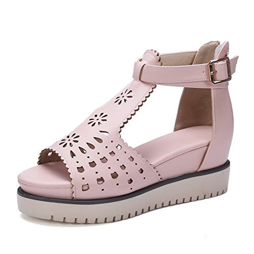 AllhqFashion Women's Open Toe High Heels Solid Zipper Sandals Pink 9UPY64D