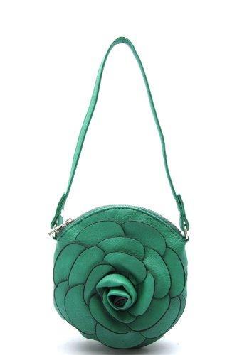Designer Handbags - ALFA FLOWER MESSENGER - By Fashion Destination   (Teal) Free Shipping