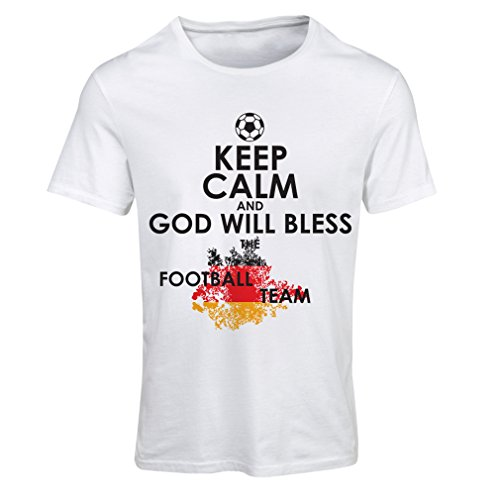 fan products of lepni.me N4457F T Shirts For Women Keep Calm and God Will Bless The Germany National Football Team (X-Large White Multi Color)