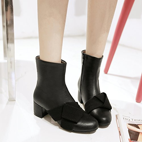 Fur Lining AIWEIYi Block Dress Heel Faux Boots Shoes Platform Womens Ankle Suede Grey CACXH6qw