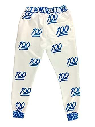 Unisex Hipster 100 Score Emoji 3d Sweatpants Joggers Sportswear Pants White Blue (L)