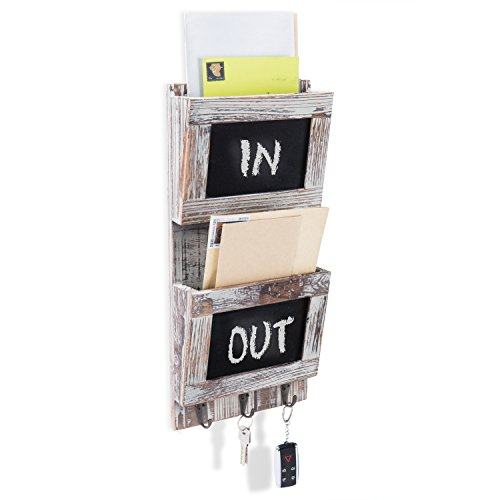 MyGift Rustic Wood Wall-Mounted 2-Slot Mail Sorter Organizer with Chalkboard Surface & 3 Key Hook Rack (Wall Mail Organizers)