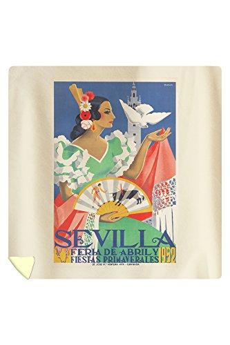 Sevilla Vintage Poster (artist: Maireles) Spain c. 1952 (88x88 Queen Microfiber Duvet Cover) by Lantern Press