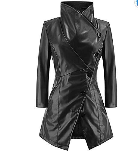 Para La black Chaqueta Outwear Larga Pu Windbreaker Mujeres Capa Manga Cálido Casual Mujer Sijux Goth Polo Collar De Las Estilo Versátil Dama l wF1v8F