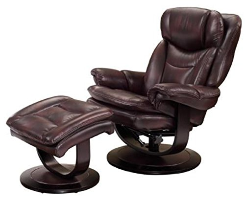 Leather Pedestal - Barcalounger Roscoe 15-8039 Pedestal Chair and Ottoman - Plymouth Mahogany 3605-87