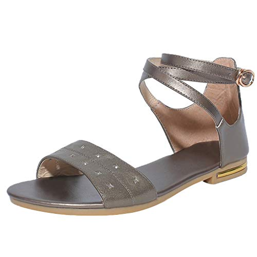 Summer Flat Sandals for Women, Huazi2 Open Toe Ankle Strap Buckle Beach Shoes Brown ()