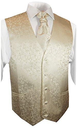 Paul Malone Wedding Waistcoat Set champagne 5pcs Tuxedo Vest + Necktie + Plastron + Hanky + 2 cufflinks ()