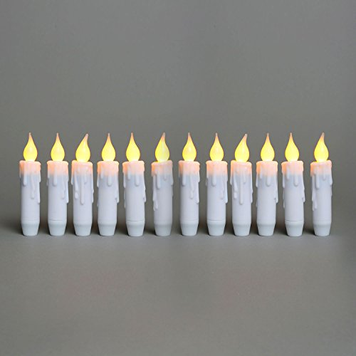 Indoor Outdoor Taper Candle Lights - 12 Pack, 5 White Plastic Flameless Candles, Warm White LEDs, Remote and Batteries Included