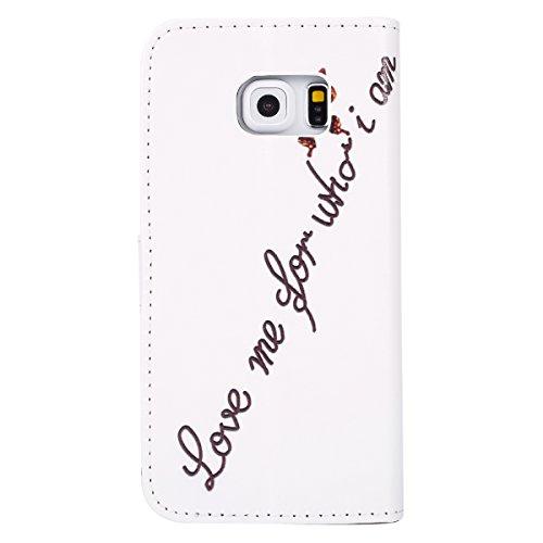 Funda para [Samsung Galaxy S6 Edge] ,ETSUE PU Cuero Cover Case para Samsung Galaxy S6 Edge,Funda de Cuero Pintado de Moda Patrón con la Mariposa Protector de Funda para telefono movil para Samsung Gal Mariposa de oro