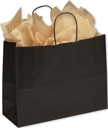 Color Kraft Shoppers Bag 16 x 6 x 12 1/2 (Black-12) by EGPChecks (Image #1)