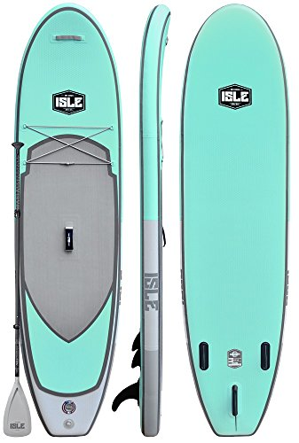 ISLE 10'6' Pioneer | Inflatable Stand Up Paddle Board | 6' Thick iSUP and Bundle Accessory Pack | Durable and Lightweight | Stable Wide Stance | Up to 240 lbs Capacity (Aqua - 2018, 10'6)
