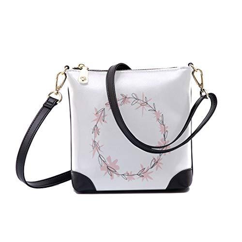 Shoulder Bag Pastel Floral Frame Art For Women Bucket Crossbody