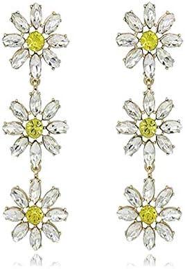 N/N Aretes Mujer Pendientes De Gota De Borla De Pétalos De Flores De Cristal Amarillo Elegante para Mujer Pendientes De Joyería De Moda