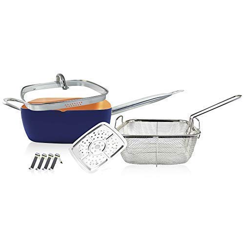 saucepot Saucepan Square Frying pan Oven /& Dishwasher Safe with Ceramic Coating Induction Base cookware Sets with lids 20 pcs Navy Blue Color Copper Cookware Set Including Non-Stick Frying Pan
