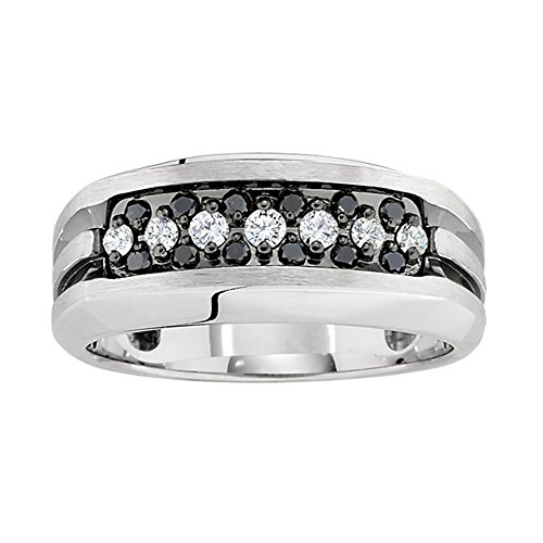 J.Goodman Sterling Silver 1/2ct tw Black and White Diamond Ring. Finger Size 11.5 (Valentinesdaygifts)