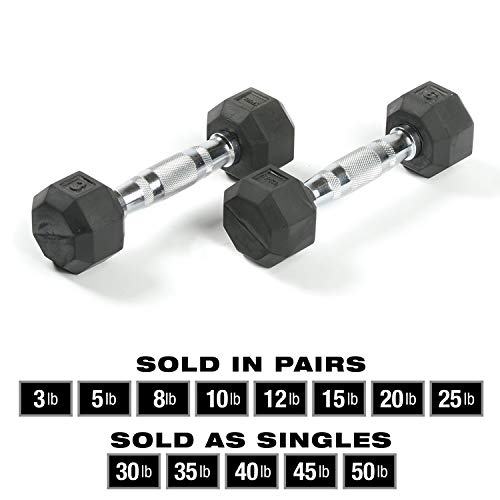 SPRI Dumbbells Deluxe Rubber Coated Hand Weights All-Purpose Color Coded Dumbbell